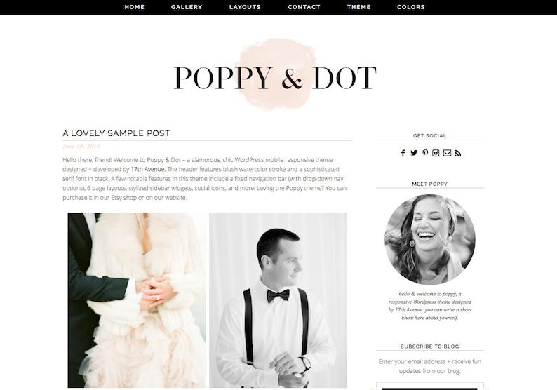 Wordpress Theme Premade Blog Template Design  Poppy & image 0
