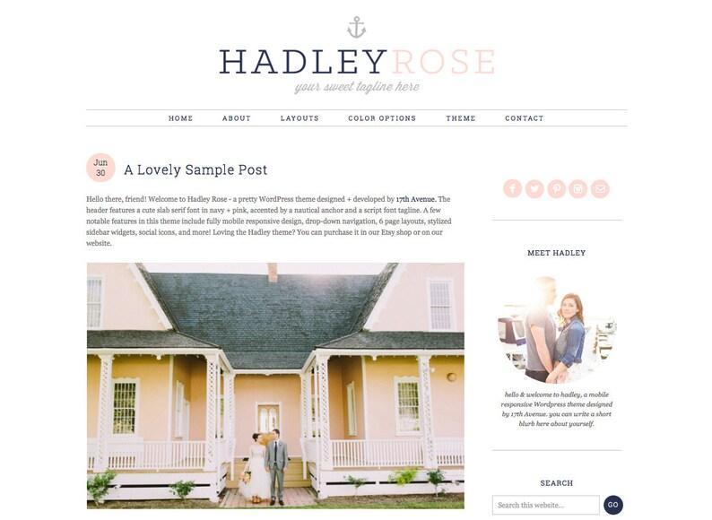 Wordpress Theme Premade Blog Template Design  Hadley image 0