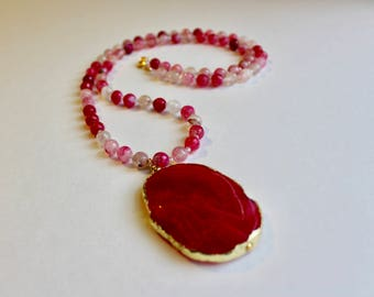 Glittering Pink Agate Necklace, Pink Beaded Necklace, Special Event Necklace, Long Pendant Necklace, Gift Necklace