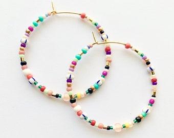 Large Colorful Seed Bead Hoop Earrings, Multicolor Beaded Hoops, Colorful Beaded Hoops, Bright Beaded Hoop Earrings, Seed Bead Hoop Earrings