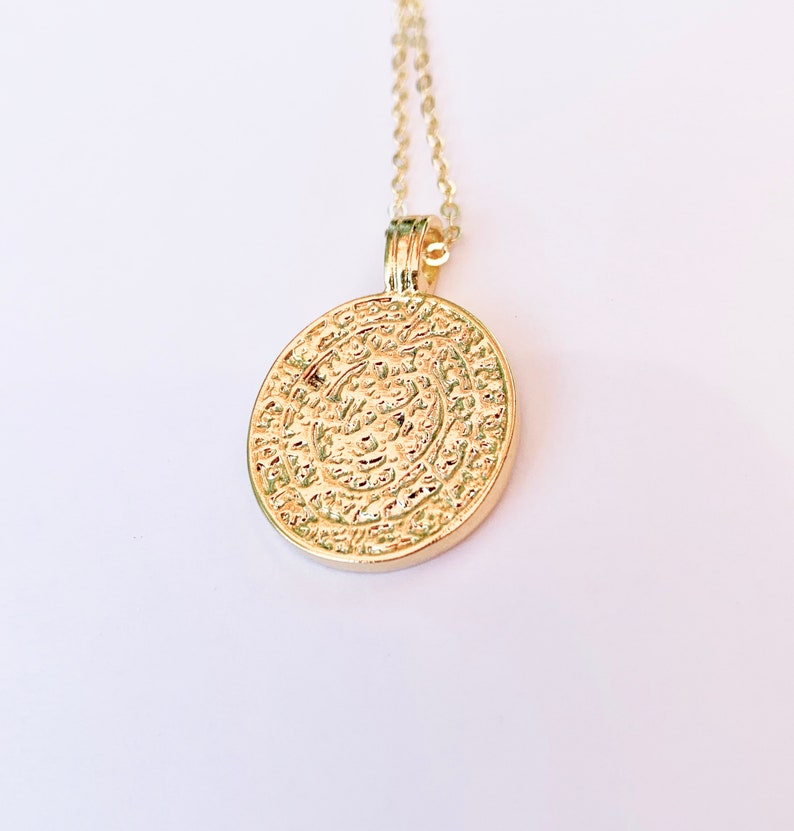 Antique Gold Coin Necklace Italian Coin Rustic Gold Coin Necklace Coin Necklace Gold Medallion Necklace Gold Coin Necklace Gold Chain