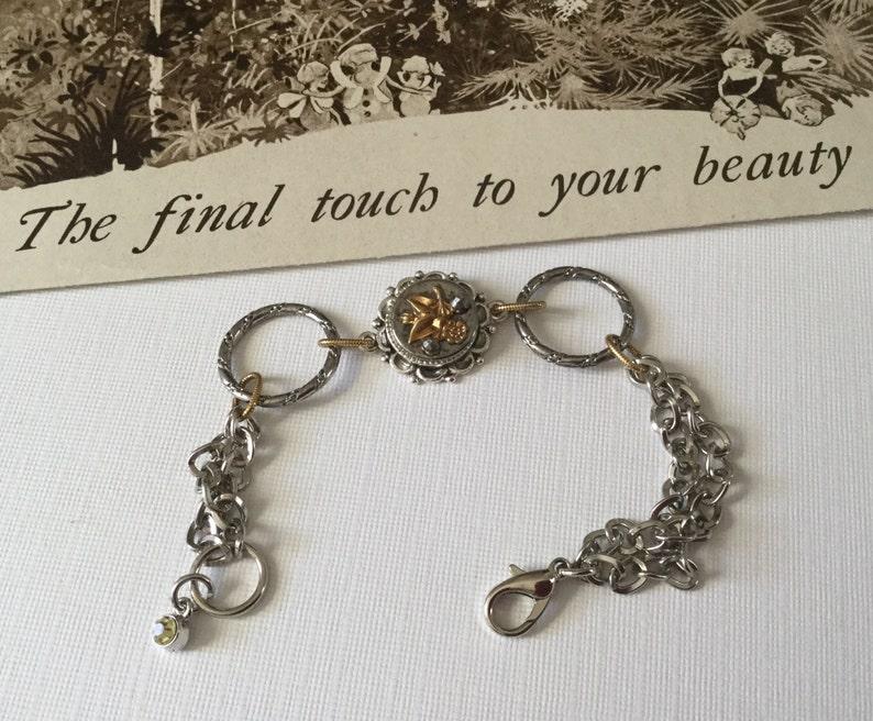 Chain Link Bracelet Floral Antique Button Jewelry by VintageRedo Victorian Bracelet