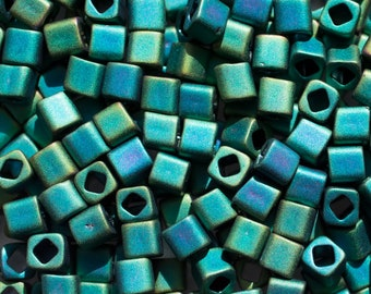 9mm Matte Teal Iris Toho bugle or fringe bead Color# TB-03-706 10 gram bag