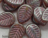 1961B- 16x12mm Champagne Pink Picasso Carved Leaf - Top Drilled Czech Glass Leaf Bead - 10 beads - Champagne Pink Picasso Leaves