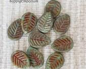 5967 Czech Glass 12x16mm Tea Green Picasso Dogwood Leaf Beads, 10 Beads