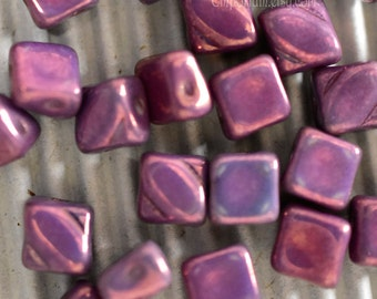 purple myid3 Kumihimo Beadweavng, Czech Glass MYSTERY 20 Beads Chalk White LILA VEGA Luster 2 hole