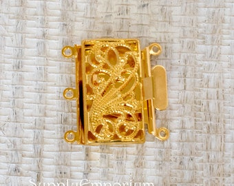 13x22mm Gold 3 Strand Box Clasp, 4838, Shiny Gold Plated Brass Box Clasp - 1 Clasp - Gold Rectangle 3 Strand Clasp