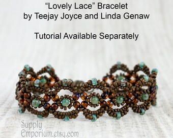 Bronze and Green Lovely Lace Bracelet BEAD PACK BB15, Lovely Lace Bracelet Tutorial By Teejay Joyce & Linda Genaw, Available Separately
