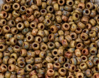1334 8/0 Brown Tan Picasso Seed Beads - 15 grams - 1334 - Miyuki 8/0 Seed Bead - Color 8-4517 - Miyuki Tan Brown Picasso 8/0 Seed Beads