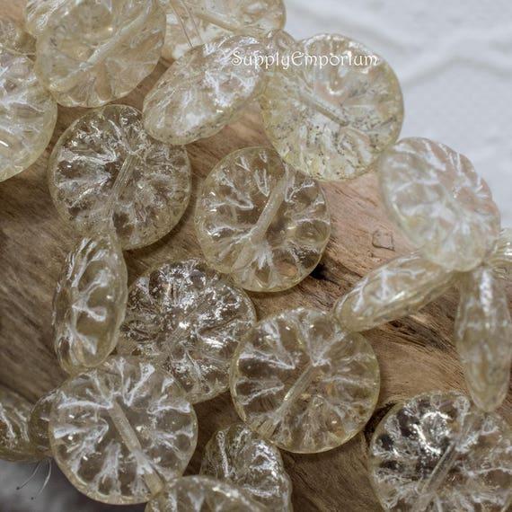 10 14mm Czech Glass Antique White  Silver Mercury wash Dahlia Flower Coin Beads