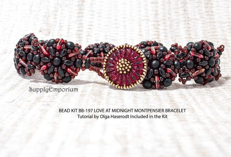 Black and Red Montpensier Bead Pack BB197 Love at Midnight Bead Kit BB-197 Love at Midnight Montpensier Bracelet Tutorial by Olga Haserodt