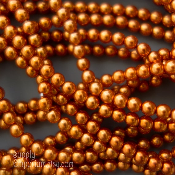 100 Burnt Orange Picasso Faceted Round Glass Beads 4MM
