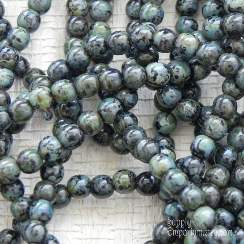 100 4mm Round Pressed Czech Glass Druk Beads Green Iris Metallic