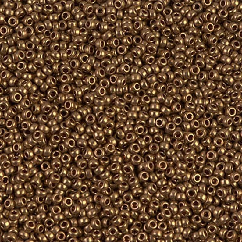 2252  15/0 Metallic Dark Bronze Miyuki Seed Beads  15-457 image 1