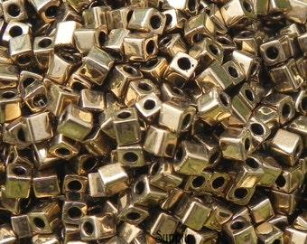 3mm Miyuki Metallic Dark Bronze Cube Beads - 3x3mm - 15 Grams Metallic Dark Bronze Miyuki 3mm Cube Beads - 2455