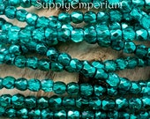 4509 - 3mm Fire Polished Faceted Round Beads - Crystal Marine Metallic Ice 3mm Beads - 3mm Crystal Marine Metallic Ice Beads - 50 Beads