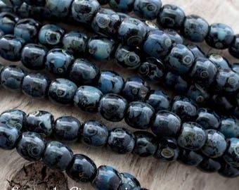 3mm Jet Picasso Czech Druk Beads, 100 Beads, Jet Picasso 3mm Czech Smooth Round Beads, 4572, Jet Picasso 3mm Druk Beads