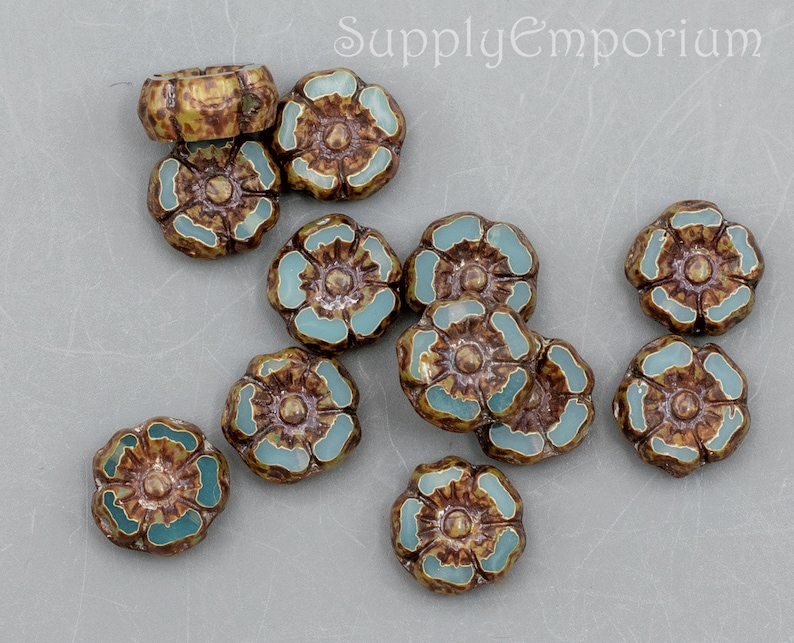 12 Beads aka Dark Aqua Opaline Picasso Hawaiian Flower Beads 1663R Tiny 7mm Czech Dark Aqua Opaline Picasso Hibiscus Flower Bead