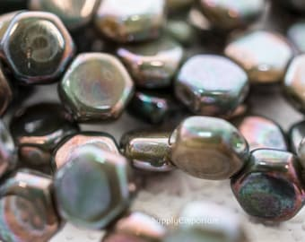 Hodge Podge Seafoam Nebula 6mm Czech Glass Honeycomb Beads, 4204, 6mm Honeycomb Hodge Podge Seafoam Nebula, 30 Beads