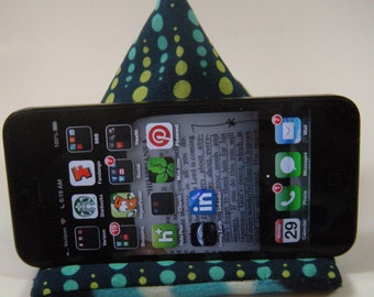 Phone Holder-Blue Green dotted