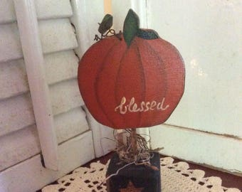 Primitive Pumpkin Autumn Blessing Shelf Sitter, Hand Crafted and Painted, Fall Decor