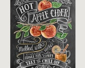 Fall Art - Fall Decor - Apple Decor - Apple Art - Fall Apple Cider Print - Autumn Decor - Thanksgiving Decor- Chalkboard Art - Hand Drawn