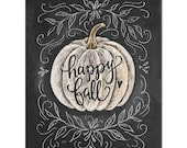 Happy Fall - Print - Pumpkin Art - Fall Decor - Chalkboard Illustration - Chalk Art - Autumn