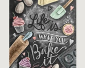 Kitchen Decor - Kitchen Chalkboard Art - Gift for the Baker - Baking Art - Kitchen Art - Illustration Print - For the Bakery - Bakery Art