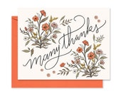 Many Thanks - A2 Note Card - Thank you Greeting Card - Gratitude - Thanks - Floral Thank You