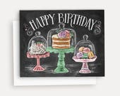 Happy Birthday Treats Card - A2 Note Card - Chalkboard Art - Celebrate Card - Happy Birthday - Illustration by Valerie McKeehan