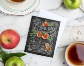 Boxed Set Of 8 Autumn Note Cards - Apple Card - Apple Cider Illustration - Unique Thanksgiving Card - Chalkboard Art