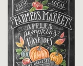 Fall Art - Farmer's Market - Fall Decor - Fall Print - Pumpkin Art - Fall Farmer's Market - Fall Print - Chalkboard Illustration - Chalk Art