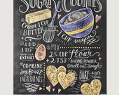 Sugar Cookies Recipe Print - Baking Wall Art - Cookie Recipe Art - Sugar Cookies - Baking Print - Kitchen Decor