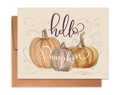 Hello Pumpkin - A2 Note Card - Everyday Greeting Card - Friendship - Thinking Of You - Pumpkin Lover - Fall Greeting