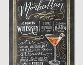 Manhattan - Manhattan Drink Recipe - Chalkboard sign - Art Print - Kitchen Decor - Chalkboard Art - Bartender Art - Chalk Art - Mixed Drink