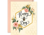 Happy Bee-Day - A2 Note Card - Boxed Card Set - Birthday Card - Birthday Greeting - B-Day - Happy Bee Day - Bee Lover