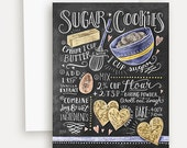 Sugar Cookies Card - Chalkboard Card - Illustrated Card - Valentine Card - Heart Card - Baking Gift