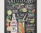 Pimm's Cup Recipe - Chalk Art - Summer Art - Cocktails - Hand Drawn - Illustration - Home Decor - Art Print - Recipe Print - For the Kitchen