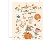 Pumpkin Spice Checklist - A2 Note Card - Boxed Card Set - Everyday Greeting - Friendship - Thinking Of You - Pumpkin Lover - Fall Greeting