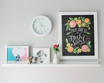 Genial Kitchen Chalkboard Art   Chalk Art   Kitchen Art   Chalkboard Art   Fresh  Start  Motivational Print   Kitchen Print   Hand Lettered Art