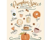 Pumpkin Spice Checklist - Print - Fall Decor - Fall Wall Art - Thanksgiving Art - Autumn Wall Art - Fall Art - Pumpkin Decor