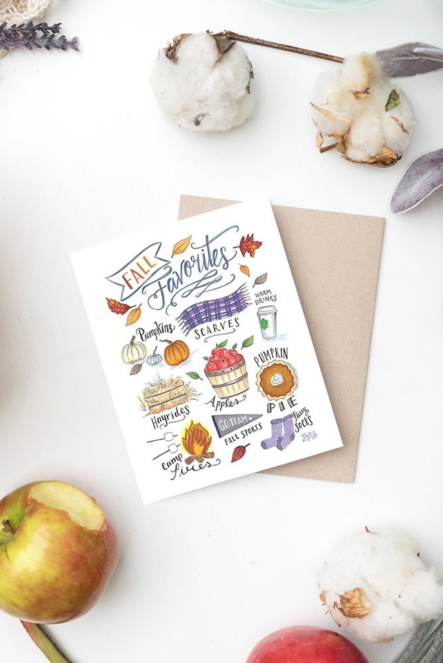 Boxed Set of 8 - Fall Favorites Notecard - Fall Greeting Card - Just Because Card - Hand Lettering - Illustrated Art
