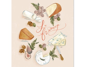 Le Fromage - Print - Home Decor - Summer - Hand-Drawn Wall Art - French Art - Food Decor - Cheese Lover - Kitchen Art
