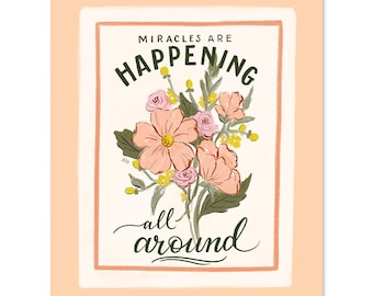 Miracles Are Happening All Around - Print - Fall Art - Pumpkin Decor - Pumpkin Lover - Autumn Decor - Hand Lettered Art - Fall Decor