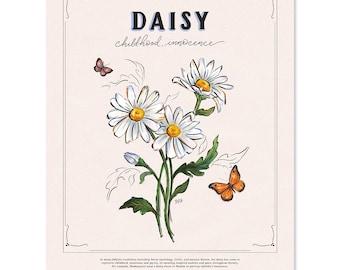 Daisy - Print - Home Decor - Summer - Hand-Drawn Wall Art - Floral Art - Flower Decor - Summer Flowers