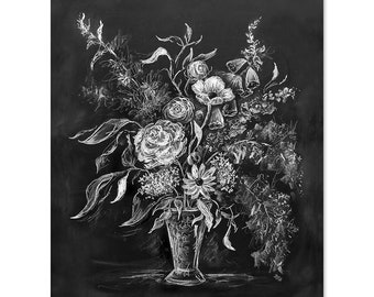 Still Life in Chalk No. 1 - Print - Fall Decor - Chalkboard Art - Still Life Art - Illustration Print - Autumn Decor