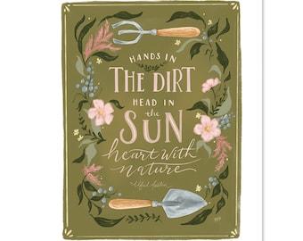 Dirt & Sun - Print - Home Decor - Summer - Hand-Drawn Wall Art - Floral Art - Gardening Decor