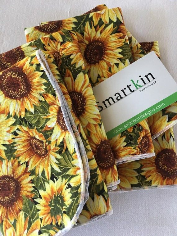 Yellow with Sunflowers All Cotton Cloth Napkin 12x15 in Size by Smartkin