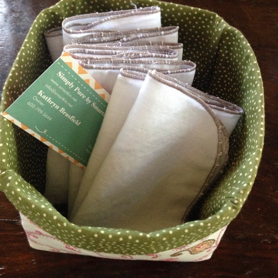 Handkerchiefs Set of 4 with a Grey Stitch by Simply Pure Smartkin
