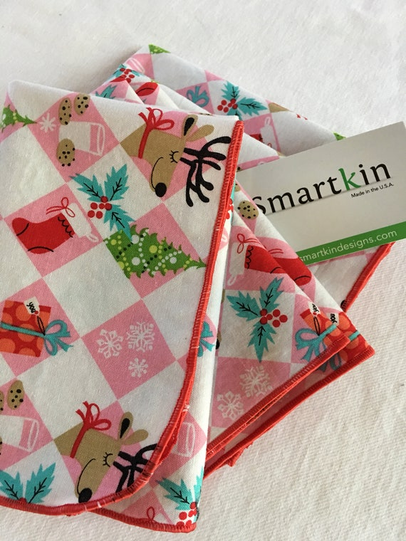 Holiday Red and Pink Reindeer All Cotton Cloth Lunch Box Napkin 12x15 in Size by Smartkin